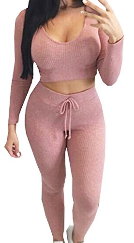 Womens Long Sleeve Deep V Neck Crop Top and Sexy Pants Suit Two Piece (Sexy Pants Suits)