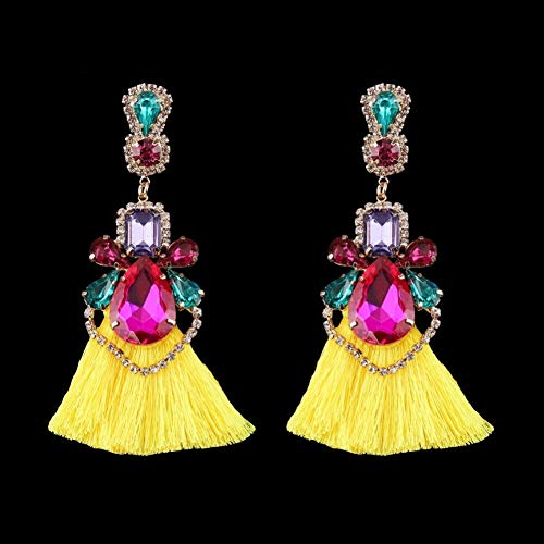 - Long Tassel Earrings Crystal Rhinestone Ethnic Statement Vintage Drop Dangle Jewelry Pendientes for Female Women Earring Wedding (Yellow #4)