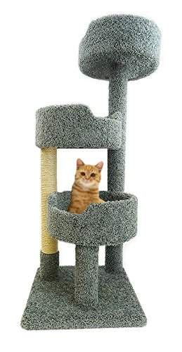 Green Cat Tree Scratching Post 52 inch Tall Carpet Kitty Tower 3 Beds