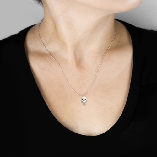 "Mini diamant pendentif Hamsa Main de Dieu ""Diamant en Or Blanc 14K"