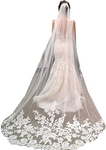 U-Hotmi Lace Applique Edge Cathedral Veil Long 3 Meter Bridal Veil with Comb, Off-white