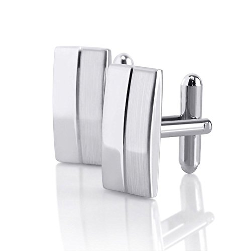 Insten Classic Silver Rectangle - Cufflinks Rectangle Silver Brushed