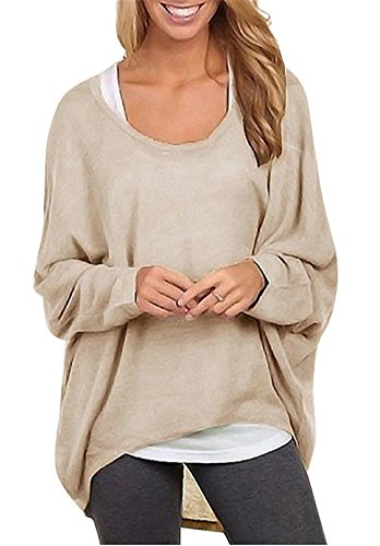 Oyanus Women's Casual Baggy Off Shoulder Long Sleeve Solid Color Pullover Shirts Tops Beige S