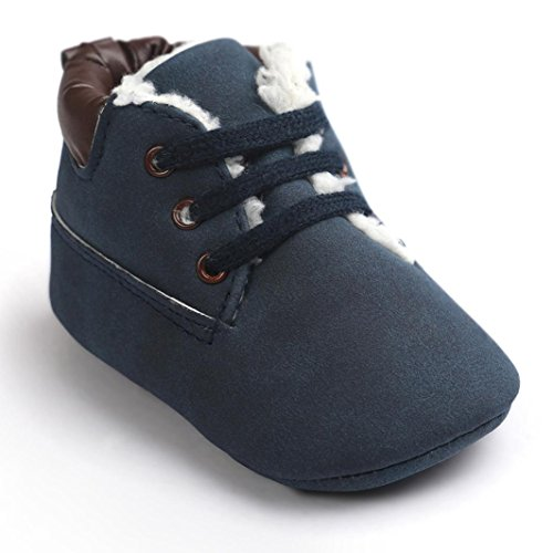Mosunx(TM) Baby Soft Warm Sole Leather Shoes Infant Boy Girl Toddler Shoes (6~12M, Dark Blue)