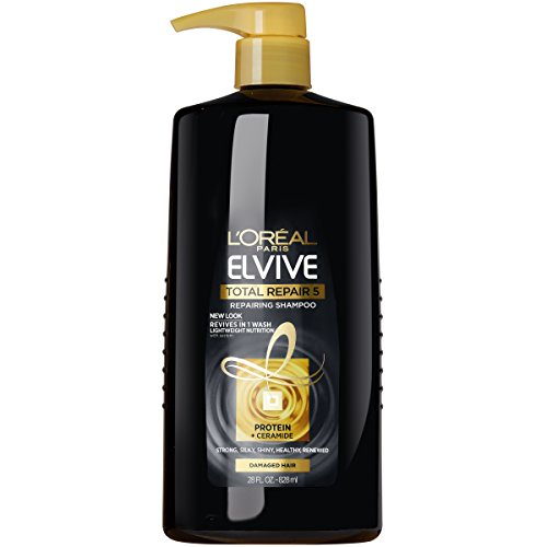 Total Fiber System - L'Oréal Paris Elvive Total Repair 5 Repairing Shampoo, for Damaged Hair, Shampoo with Protein and Ceramide for Strong, Silky, Shiny, Healthy, Renewed Hair, 28 fl. oz.