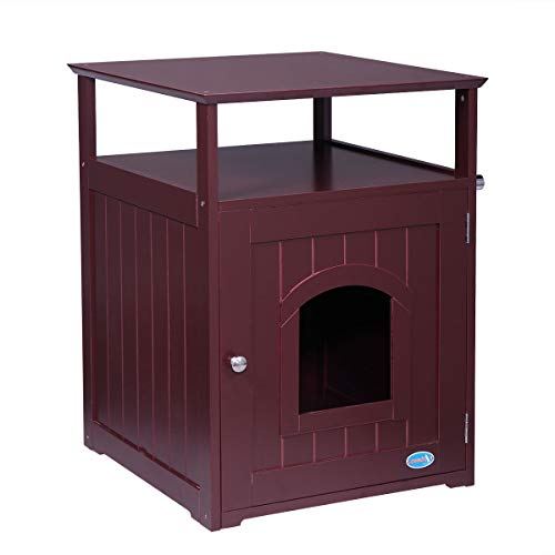 LAZYMOON Wood Pet Washroom End Table Hidden Cabinet Cat Litter Box Cover Brown