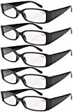 Eyekepper Spring Hinge Plastic Reading Glasses (5 Pack) Readers Women Black +1.5