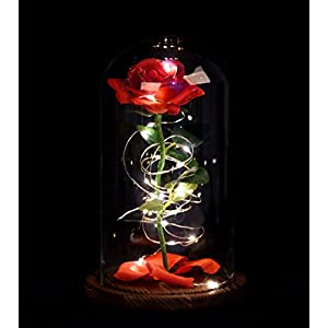 Snowkingdom Beauty The Beast Inspired Red Rose Flower LED Light Fallen Petals in a Glass Dome on a Wooden Base 44