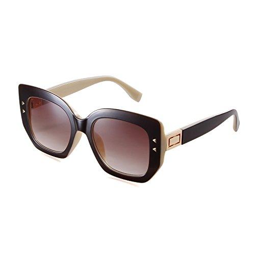 da vista di donna da Occhiali Marrone per da Occhiali guida sole di Viaggio cornice shopping lente quadrati oversize lo Marrone Adewu txyzFpq