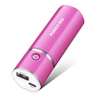 Poweradd Slim 2 Ultra-Compact 5000mAh Portable Charger with 2.1A Fast Charge for iPhones, Samsung Galaxy, USB-enabled Devices - Rose Red