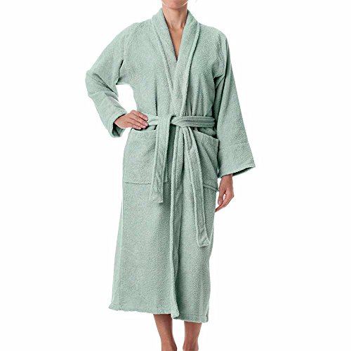 Unisex Terry Cloth Robe - 100% Long Staple Cotton Hotel/Spa Robes - Classic Robes For Men or Women,Sage,Large