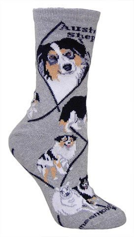Australian Shepherd Animal Socks On Gray 9-11
