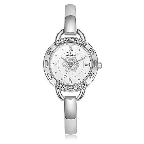 Women Bracelet Watch, Stunning Bangle Alloy Strap Quartz Movement Flower Round Dial Analog Watch Wristwatch(Silver Strap White Dial)