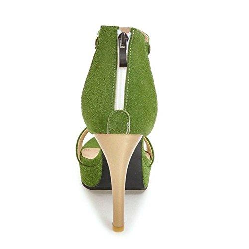 con Coolcept de Cremallera Verde de Plataforma Zapatos Peep Aguja Moda Toe Sandalias Tobillo Mujer Correa Tacon 1rwTq1O