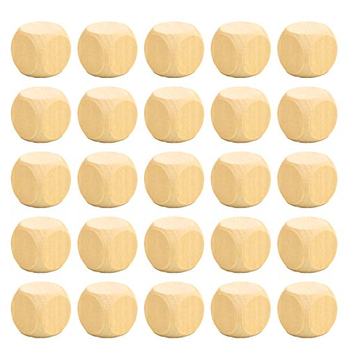 (Timoo 1 Inch Wooden Cubes Crafts, Wood Blank Dices Natural Square Blocks for Puzzle Making Baby Study DIY Craft Making, Set of 25)