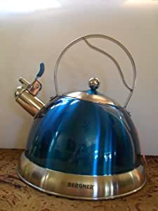 Bergner 3.0 Whistling Kettle Stainless Steel Teal Blue