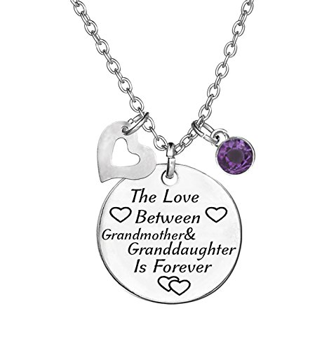 TISDA Birthstone Crystals Necklace,The Love between Grandmother and Granddaughter is Forever Necklace Family Jewelry Christmas Gift -