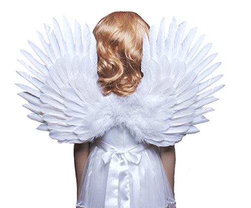 FashionWings (TM Children's White Feather Angel Wings Duo Use Pointing up or Down]()