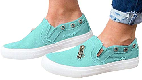 Womens Canvas Shoes Flat Sports Running Shoes Summer Zipper Beach Shoes Casual Single Shoes by Gyouanime Blue