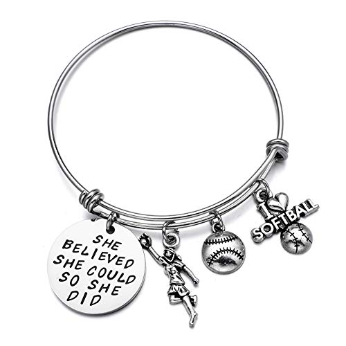 Softball Bracelet She Believed She did Girls Softball Jewelry Gift for Softball Player Team Coaches (Softball)