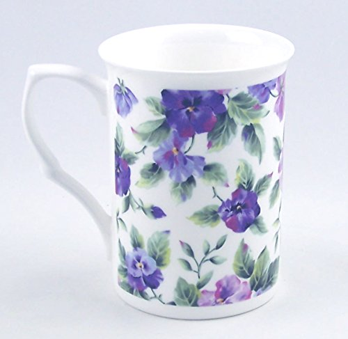 Fine English Bone China Mug - Viola or Pansy Chintz - Adderley China of (Antique English Bone China)