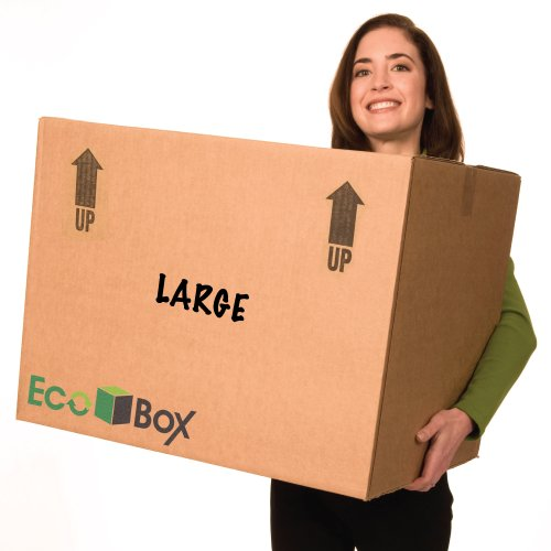 EcoBox Large Moving Boxes Genuine Size 24 x 18 x 18 Inches - Pack of 7 (V-6825)