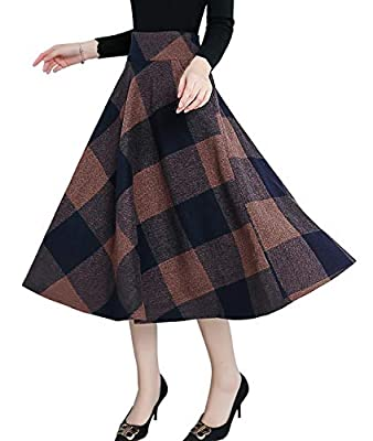 Femirah Women's Wool Midi Skirt A Line Floral Skirt Vintage Plaid Swing Skirts 14 Colors