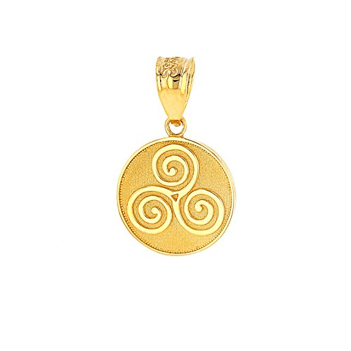- Solid 10k Yellow Gold Celtic Triple Spiral Triskele Round Charm Pendant