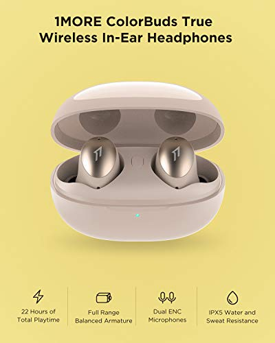 1MORE ColorBuds True Wireless Earbuds, Premium Bluetooth Earphones IPX5 Water Resistant, 22 Hours Playtime with Fast Charge and ENC Microphones, Auto Play/Pause, for Workout, Sports, Home Office