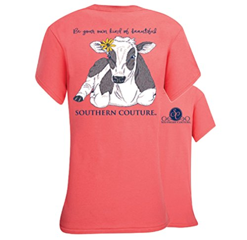 Southern Couture SC Classic Be Beautiful Cow Womens Classic Fit T-Shirt - Coral Silk, - Moo Facebook Moo