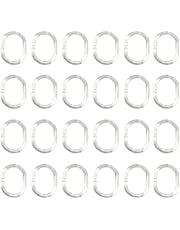 Shower Curtain C Ring Hooks, 24 Pcs Soft Plastic Can Be Twisted Hanging Ring for Bathroom, Bedroom, Kitchen, Toilet (Clear)