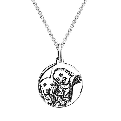 SOUFEEL Round Personalized Necklace 925 Sterling Silver Necklaces Photo Engraved Pendant Necklace (Pendant Personalized Photo)