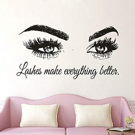 Geiqianjiumai Etiqueta engomada de la Pared de Vinilo de pestañas Maquillaje de Ojos Mural de Pared 79cm x 42cm
