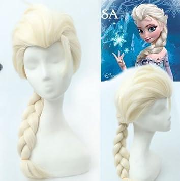Frozen - Peluca rubia con trenza (Reina Elsa)