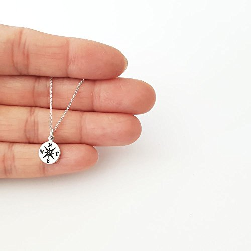 (Simple Sterling Silver Small Compass Charm Necklace 18