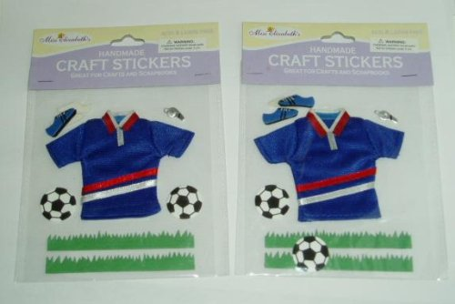 2 packages of Soccer Sports Craft Scrapbooking Stickers Ball Shoes & Jersey ~ Acid & Lignin (Scrapbooking Feet)