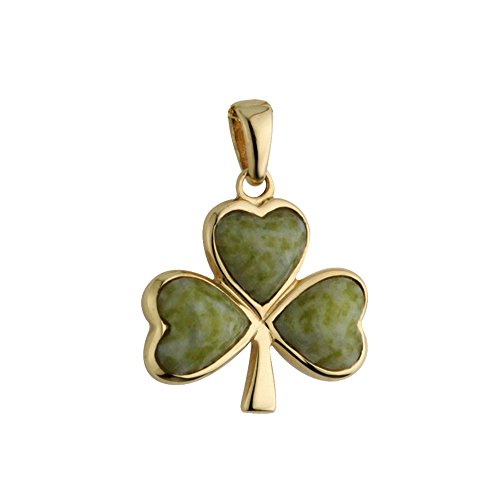 Gold Shamrock Pendant - Solvar 14K Gold Charm Clover Irish Shamrock Pendant No Chain with Connemara Marble Made in Ireland