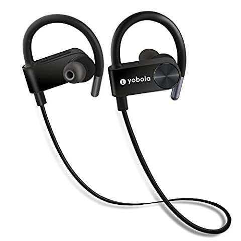 Bluetooth Headphones, Wireless In Ear Sports Earbuds Sweatproof Earphones Noise Cancelling Headset with Mic, 7 Hours Play (Bluetooth Tangle Free Headphones)