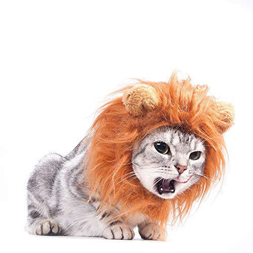 GALOPAR Halloween Cat Lion Mane Wig Costume, Little Dog Mane Lion, Adjustable Washable Funny Pet Cute Hat Hair Mane with Ears for Holiday Photo