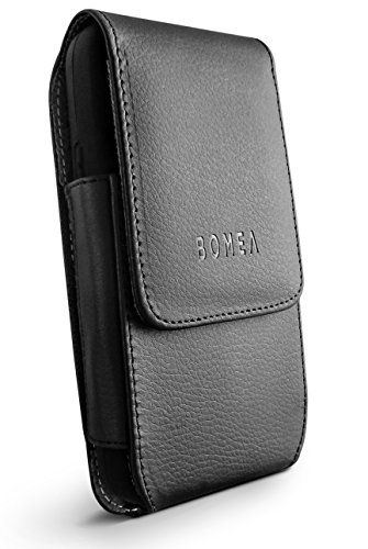 Galaxy S7 Belt Clip Case, Bomea Black Leather Case with Clip Holster Carrying Pouch Cover Holder for Samsung Galaxy S7 with Otterbox Lifeproof Battery Case On Vertical Swivel Clip Black