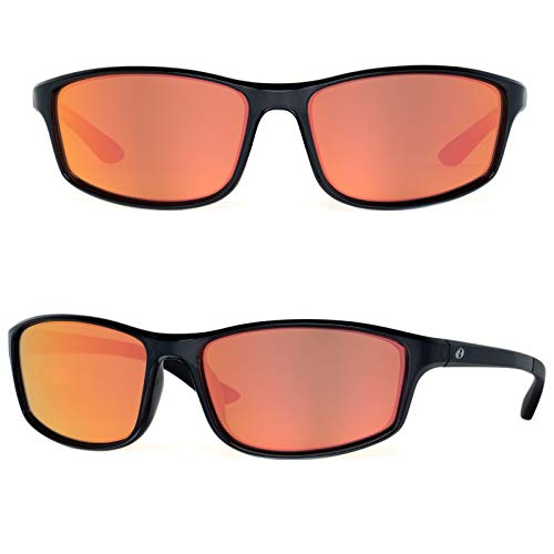 (Bnus Paladin polarized sunglasses for men corning glass lens red mirrored Driving Golf shades italy made (Black/Red Mirrored, Never Scratch Mirror Coating Polarized Lens))