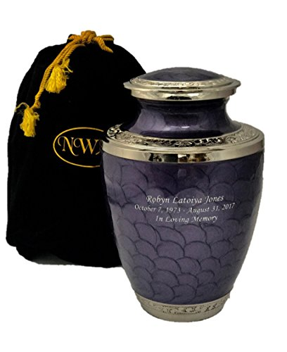 NWA Cremation Urn, Lavender Adult Funeral Cremation Urns with Personalization