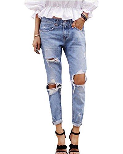 Del Jeans Skinny Pantaloni Donne Strappati Ginocchio Elastico Come Grandi Femminili Immagine Slim xUqq4n