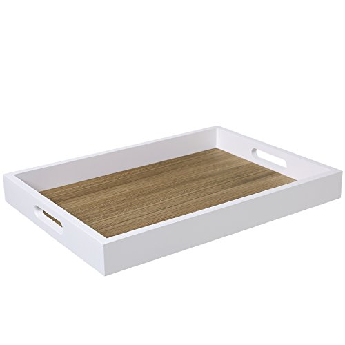 Decorative Natural Wood Breakfast Serving Tray with Cutout Handles, Brown/White - 16 X 11 Inch
