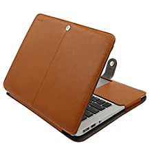 Mosiso PU Leather Book Folio Stand Case for MacBook Air 13 Inch (Models: A1466 and A1369) - Light Brown
