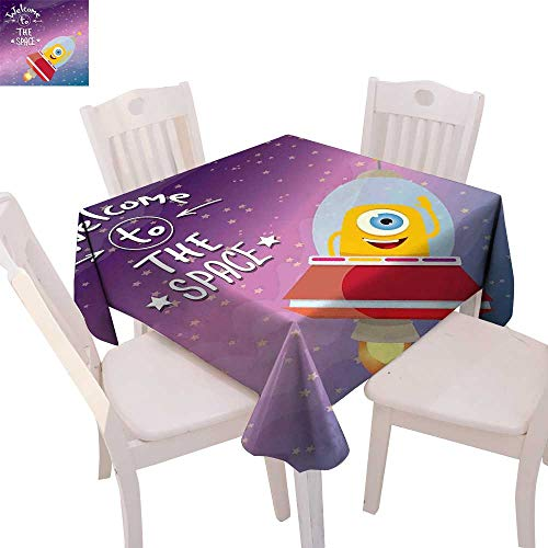 - cobeDecor Outer Space Customized Tablecloth Welcoming Quote Print with Retro Style Mascot Vessel Traveling in Milky Way Tablecloth That can be Used as a Tapestry 50
