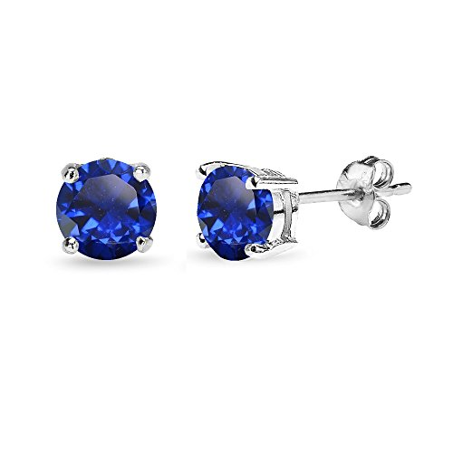 Sterling Silver Created Blue Sapphire 6mm Round-Cut Solitaire Stud Earrings Drop Single Stone Post Earrings