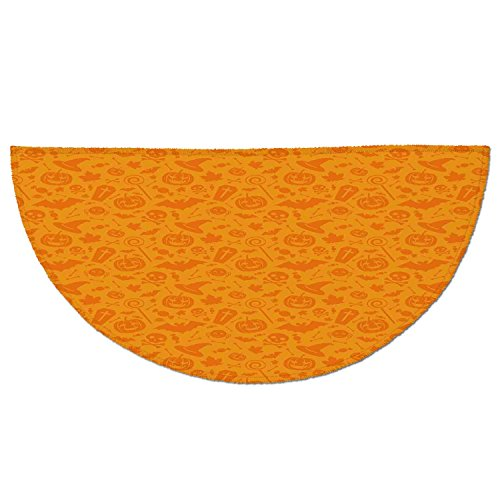 Half Round Door Mat Entrance Rug Floor Mats,Halloween Decorations,Monochrome Design with Traditional Halloween Themed Various Objects Day,Orange,Garage Entry Carpet Decor for House Patio Grass Water