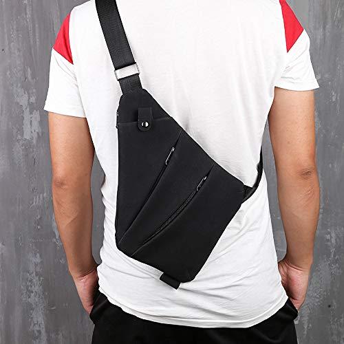 Hot Sale!DEESEE(TM)Vintage Men Outdoor Pure Color Zipper Leather Messenger Bag Chest Bag Waist Bag (Black)