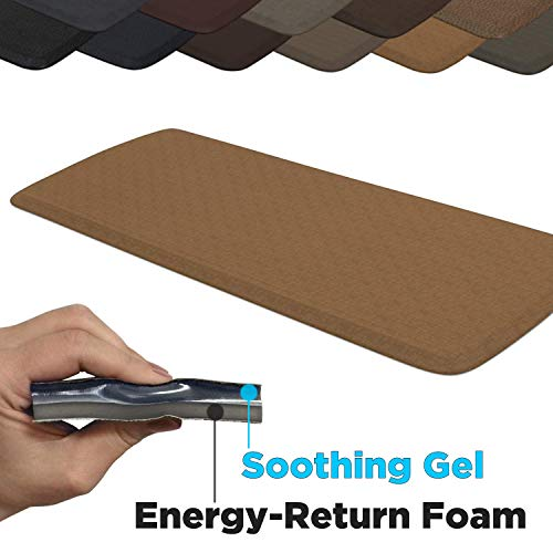 "(GelPro Elite Premier Anti-Fatigue Kitchen Comfort Floor Mat, 20x48"", Linen Khaki Stain Resistant Surface with Therapeutic Gel and Energy-return Foam for Health and Wellness)"